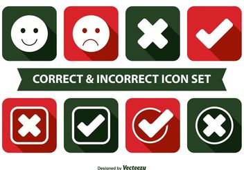 Correct and Incorrect Icon Set - vector #141115 gratis