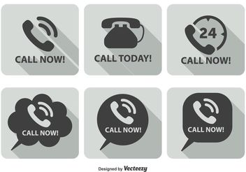 Call Now Icon Set - vector gratuit #141125