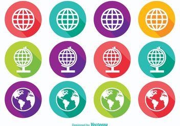 Long Shadow Earth Globe Icons - Free vector #141155