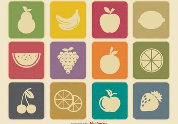 Retro Fruit Icons - Free vector #141185
