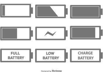 Battery Icon Set - vector gratuit #141195
