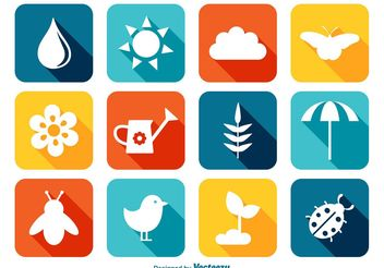 Colorful Spring Icon Set - vector gratuit #141245