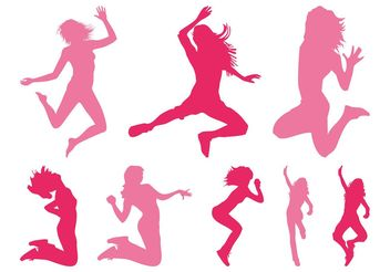 Jumping Girls Silhouettes - vector gratuit #141375