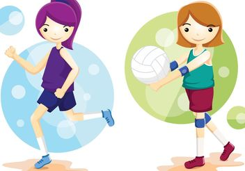 Volleyball Athlete Vectors - Free vector #141395