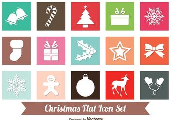 Flat Christmas Icon Set - Kostenloses vector #141935