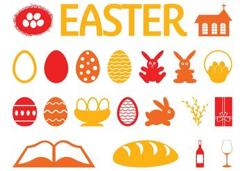 Easter Icon Set - Free vector #141975