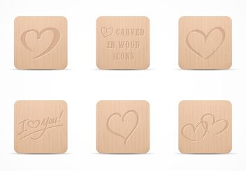 Free Heart Carved In Wood Vector Icon Set - vector gratuit #141995