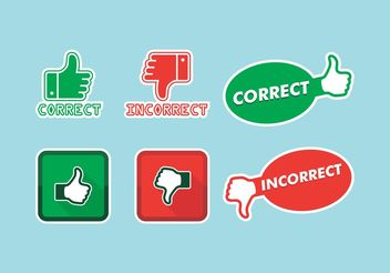 Correct Incorrect Icons Vector Free - vector gratuit #142215