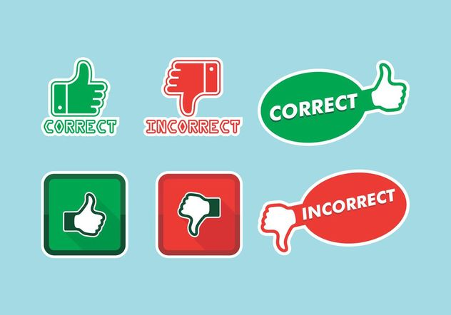 Correct Incorrect Icons Vector Free - Free vector #142215