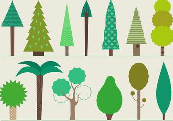 Set of Tree Vector Icons - vector #142425 gratis