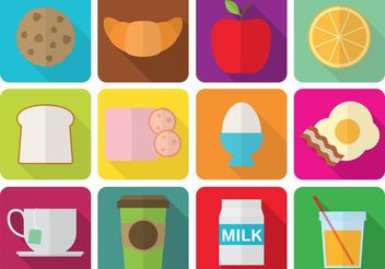 Flat Breakfast Icons - Free vector #142525