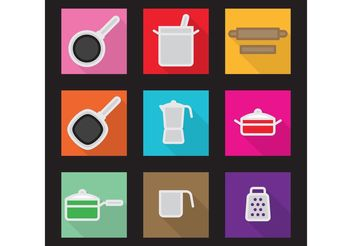Flat Kitchen Vector Icons - vector #142685 gratis