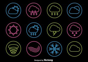 Neon Weather Line Icons - vector gratuit #142755