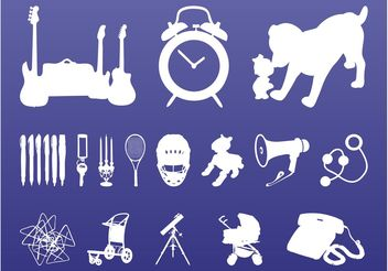 Random Objects Silhouettes - vector gratuit #142895