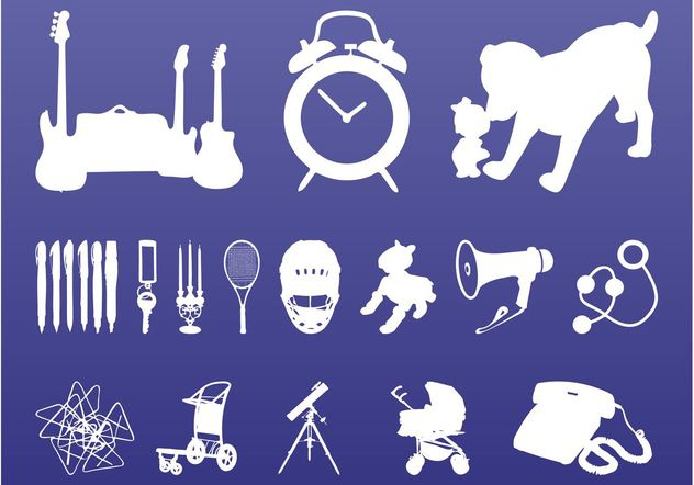 Random Objects Silhouettes - Free vector #142895