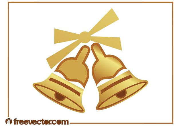 Golden Christmas Bells - Free vector #143035