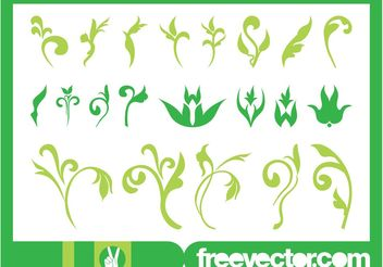 Floral Ornaments Graphics Set - Free vector #143065
