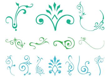 Swirling Plants Set - бесплатный vector #143375