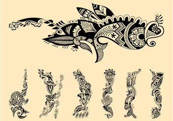 Henna Tattoos Graphics - Free vector #143395