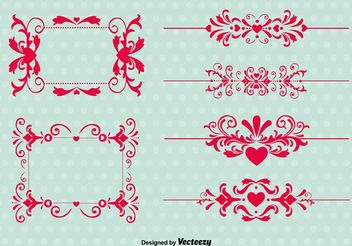 Vintage Love Ornament Vectors - vector gratuit #143455