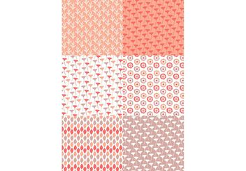 Pastel Red Floral Pattern Set - vector gratuit #143565
