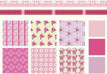 Shabby Chic Rose Patterns - Free vector #144185
