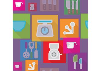 Flat Kitchen Vector Background - Free vector #144375