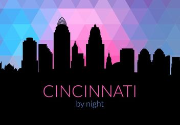 Free Cincinnati Skyline By Night Vector - Free vector #144905