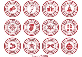 Distressed Christmas Rubber Stamps - vector gratuit #144925