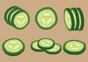 Vector Cucumber Slices - бесплатный vector #145645