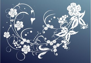White Floral Scroll - Free vector #145775
