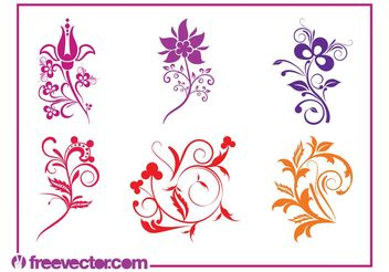 Colorful Swirling Flowers Set - Free vector #145785