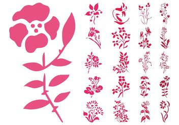 Flowers Silhouettes Set - Kostenloses vector #146445