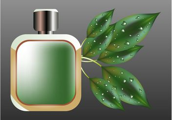 Perfume Bottle And Leaves - Free vector #146485