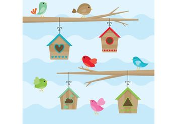 Birds House Vectors - vector gratuit #146525