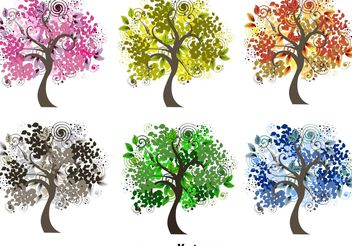 Decorative Seasonal Tree Vectors - vector gratuit #146555