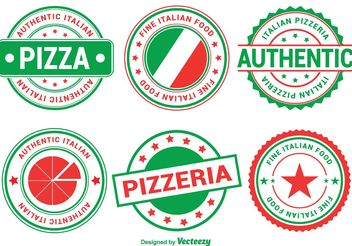 Italian Pizza Badges - Kostenloses vector #146775