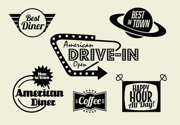 50s Diner, Coffee, and Fast Food Pack - Free vector #146955