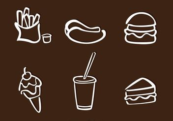 White Food Outline Icons Vectors - vector gratuit #147005