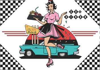 Free 50's Drive In Diner Vector Ilustration - бесплатный vector #147105