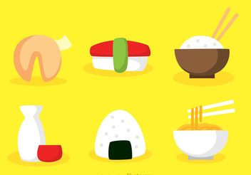 Vector Asian Food Flat Icons - Free vector #147135