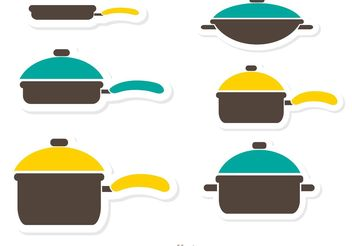 Pan with Handle and Colorful Lids - vector #147215 gratis