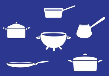 White Pans with Handle Vectors - Free vector #147245