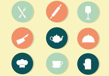 Circle Kitchen Icon Vectors - Free vector #147265