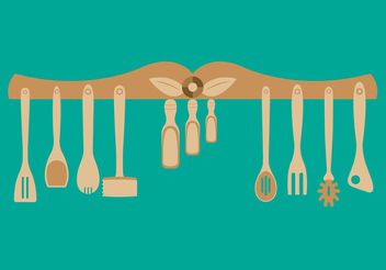 Wooden Utensils - vector gratuit #147315
