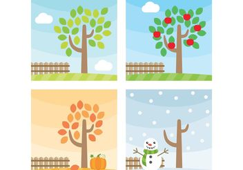 Seasonal Tree Vectors - vector gratuit #147895