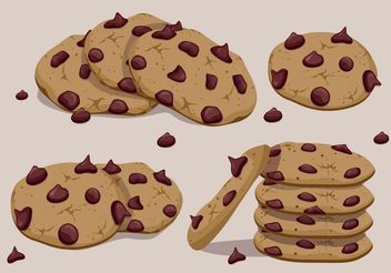 Chocolate Chip Cookies Vectors - vector gratuit #147925
