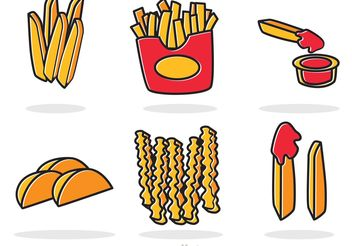 Set Of French Fries Vector - vector gratuit #147965