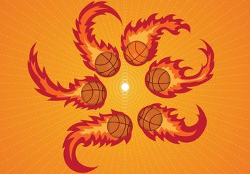 Curved Basketball on Fire Vectors - Free vector #148285