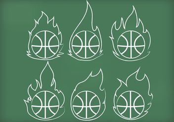 Outline Basketball on Fire Vectors - бесплатный vector #148315